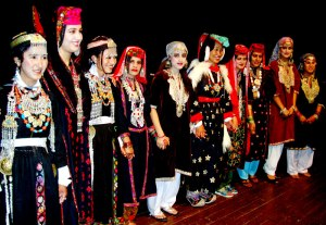 Kashmiri women in their traditional costumes