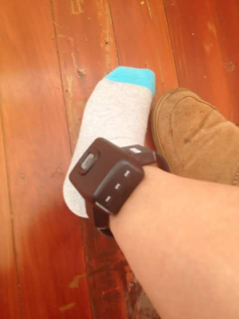 My ankle with  GPS. electric bracelet.